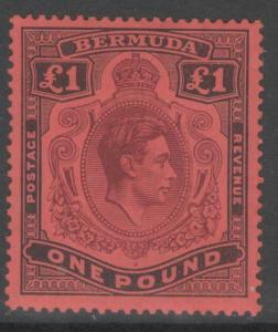BERMUDA SG121 1938 £1 PURPLE & BLACK/RED p14 MTD MINT