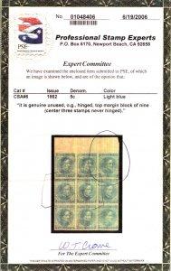 US #CONFED US #6   PSE CERT, SUPERB mint hinged four nice margins,  cert copy...
