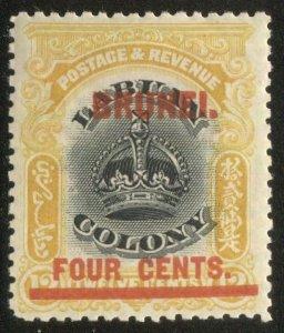BRUNEI / Labuan 1906 Sc 5 MLH  4d/12c red overprint on Labuan