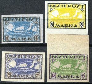 Estonia 1919-20, Vikingships, Mi 12y,13x, 23B, 24B, All MNH Cat +34,5€ (E10002)