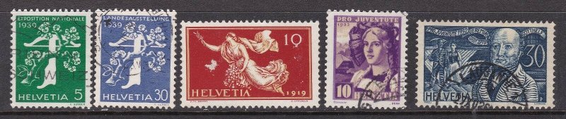 SWITZERLAND^^^1919-39 x5  better SEMIS POSTALS $$@ dc 329swiss