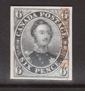 Canada #2TCv XF Plate Proof India Paper On Card With Orange Specimen