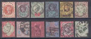 Great Britain Sc 111-122 used. 1887-92 Queen Victoria definitives, complete set