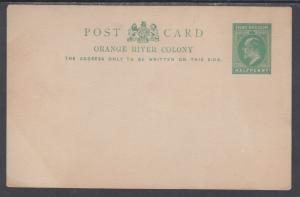 Orange Free State H&G 40 mint 1912 ½p green KEVII Postal Card, F-VF