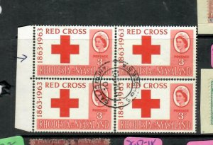 RHODESIA & NYASALAND  (P1106B) QEII  RED CROSS 3D BL OF 4, UL STAMP LINE BY 3 VF