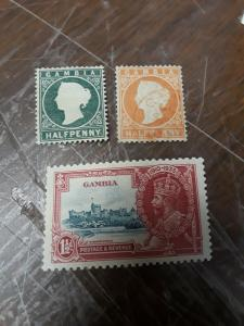 Gambia MNH, Hinged & Used 1/2p &1 -1/2p