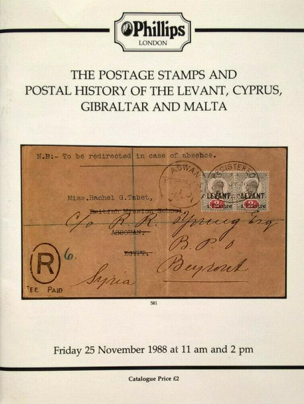 Auction Catalogue Stamps & Postal History LEVANT CYPRUS GIBRALTAR MALTA