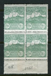 SAN MARINO; 1903-20s early Mt. Titano issue fine Mint BLOCK of 20c. value