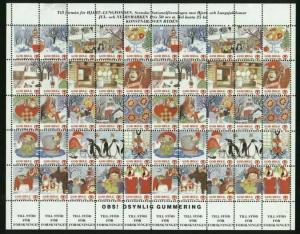 Sweden. Christmas Seal 1991/92 Mnh.Full Sheet Folded. Skansen. Moose,Abe,Santa