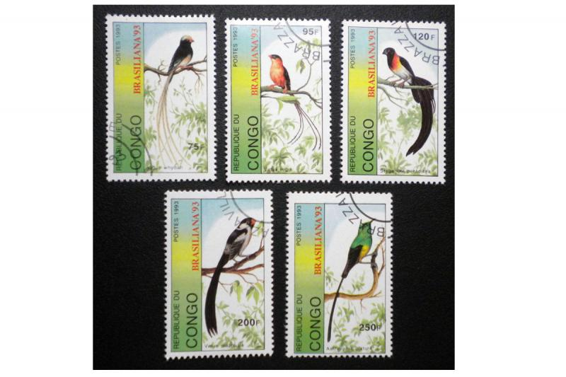 CONGO 1993 SCOTT # 1037 - 1041. COMPLETE SET. TOPIC: BIRD. CTO