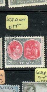 ST KITTS NEVIS  (PP2802B)  KGVI 2D COLUMBUS SG 71A VFU