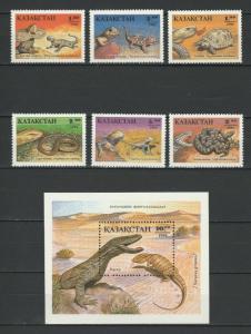 Kazakhstan 1994 Fauna Reptiles 6 MNH stamps + Block