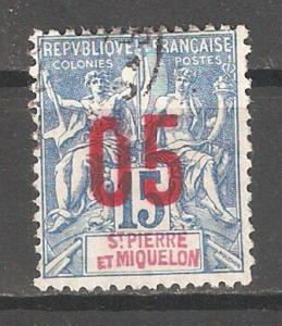 St Pierre & Miquelon 1912,Surcharged,Sc 112,VF USED (0) (P-5)