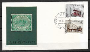 1979 San Marino 945-6 Europa Cept C/S FDC with cachet of first stamp