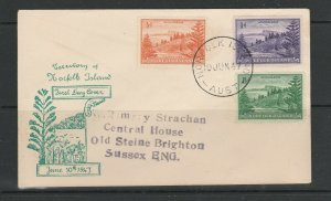 Norfolk Island 1947 FDC Illus, 1/2d 1d & 1 1/2d Defs, Imprint address