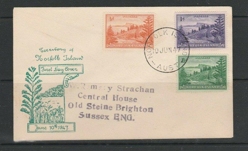 Norfolk Island 1947 FDC Illus, 1/2d 1d & 1 1/2d Defs, Imprint address