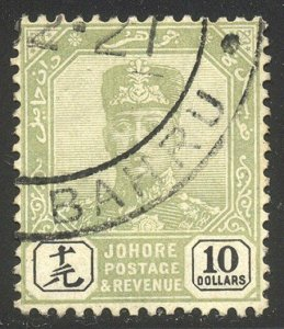 MALAYA / JOHORE #100 Used - 1918 £10 Green & Black