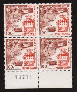 Monaco #365 VF/NH Imprint Block