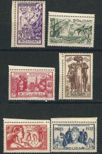 French Sudan 106-11 Yv 93-98 Paris Intl Exhib MLH VF 1937 SCV $12.00
