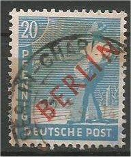 BERLIN, 1948, used 20pf  Overprint in Red Scott 9N26