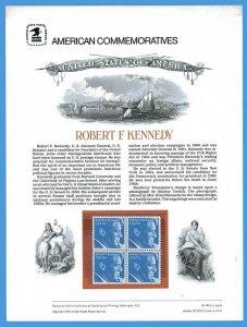 USPS COMMEMORATIVE PANEL #105 ROBERT F. KENNEDY #1770