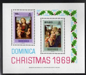 DOMINICA Scott 290a MNH** 1969 Christmasl souvenir sheet