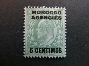 A4P9F2 Great Britain Offices in Morocco 1907-10 5c on 1/2p mint no gum