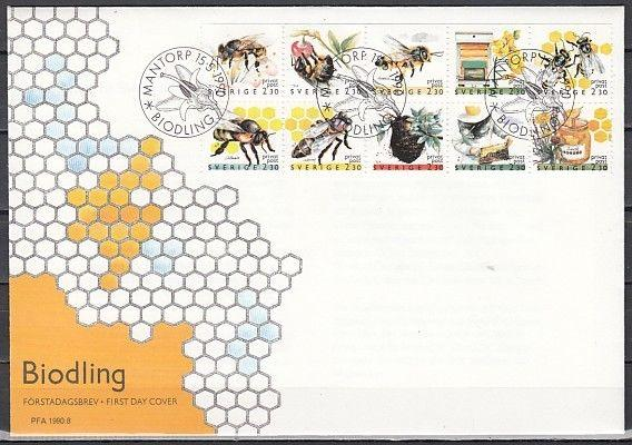 Sweden, Scott cat. 1819-1828. Insects as Honey Bees on a First day cover.