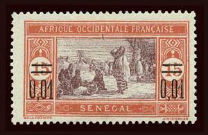 SENEGAL Scott #127 1922 preparing food, surcharged, unused HR, paper inclusion
