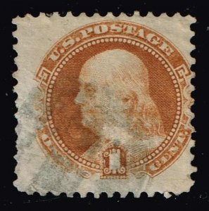 US STAMP #112 1869 1¢ Franklin Pictorial Issue USED