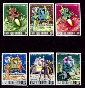 Togo 674-77 and C107-08 MNH 1969 Moon Landing Imperf set