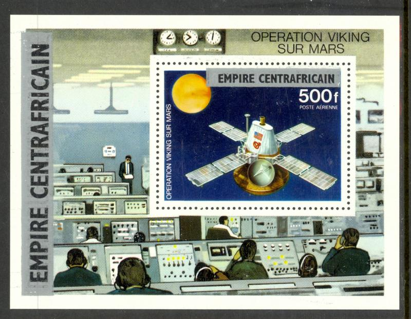 CENTRAL AFRICAN EMPIRE 1977 500fr VIKING MARS Space Souvenir Sheet Sc C179 MNH
