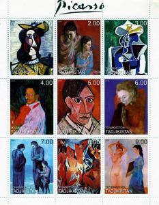 Tajikistan 1999 PABLO PICASSO Paintings Sheet (9) perforated Mint (NH)