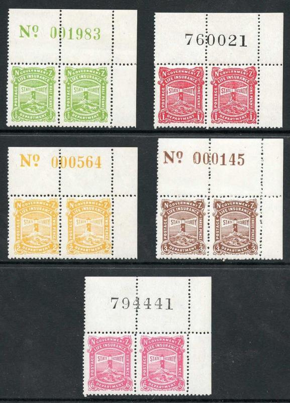 New Zealand SGL37/41 1944 Life Insurance Corner Sheet Number Pairs Stamps U/M