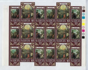 ST. LUCIA SCOTT #277A - EASTER 6 TRIPTYCHS - MINT NEVER HINGED