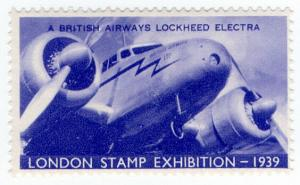 (I.B) Cinderella : Harrison & Sons - Stamp Exhibition 1939 (Lockheed Electra)