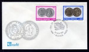 Argentina 1327-1328 Coins on Stamps U/A FDC