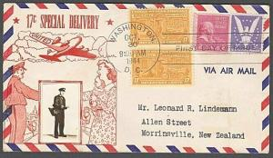USA 1944 CROSBY photo FDC to New Zealand - 17c Special Delivery............55573