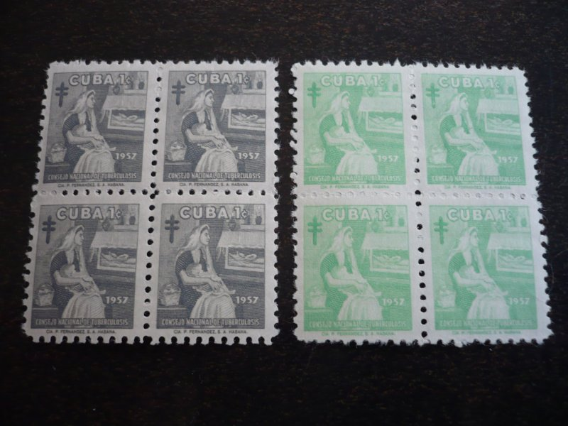 Stamps - Cuba - Scott# RA35-RA38 - Mint Hinged Set of 4 Stamps in Blocks of 4