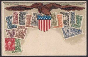 ISSUE OF 1902 ZIEHER STAMP CARD Post Card w embossed images of US postage repros