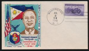 #925 PHILIPPINES INDEPENDENCE DAY BY FLEUGEL COVER BP2879