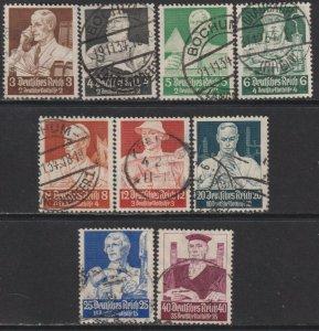 Sc# B59 / B67 Germany 1934 Careers complete semi postal set Used CV $123.10