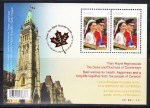 CANADA # 2477b  Mint NH  Souvenir Sheet Prince William  -  Kate Middleton -