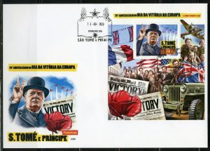 SAO TOME 2020 75th ANNIVERSARY VE-DAY CHURCHILL SOUVENIR SHEET FIRST DAY COVER