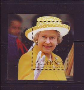 Alderney Sc  163 2001 75th Birthday QE II stamp sheet mint NH