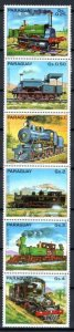 Paraguay MNH Strip Of 6 Trains 1983
