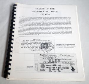 Usages of the Presidential Issue 1938 Philatelic Book Stamp Postage Catalog USA