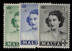MALTA GVI SG255-257, complete set, M MINT.