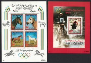 Yemen Horses Olympic Games Los Angeles 2 MSs SG#MS300