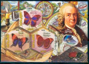 MALAWI 2012 BUTTERFLIES - CARL LINNAEUS - PART VIII SHEETLET OF THREE STAMPS